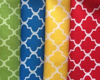 Green, Blue, Yellow, Red Color Quatrefoil Summer Cloth Napkins, Set of 12