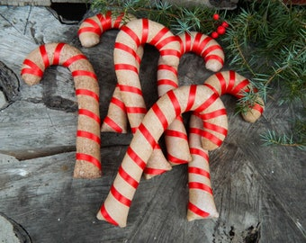 6 Primitive candy canes_winter decor_holiday decorations_primitive country decor_rustic decor_Christmas primitive_Grungy Christmas Candy