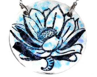 Big Lotus Ceramic Necklace with Chain
