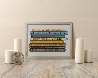 BUY 2, GET 1 FREE! Agatha Christie Book cross stitch pattern, Pile of books cross stitch, Instant Download, pdf counted cross stitch, #P313