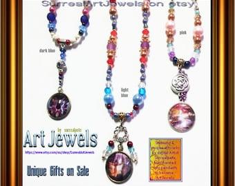 Art Jewel Necklace  with 25mm Artwork Pendants