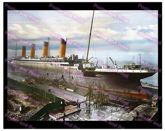 RMS Titanic in it's final stage of construction. Belfast,  Harland Wolff UK Launched: 31st May 1911. Awesome Poster Digitally Remastered 830