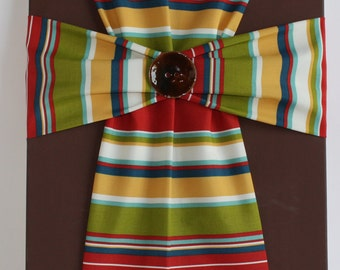 Handmade Fabric Cross Canvas Wall Hanging Brown Stripe