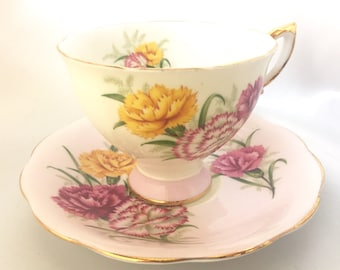 Vintage Royal Standard Harmony pastel pink floral tea cup and saucer