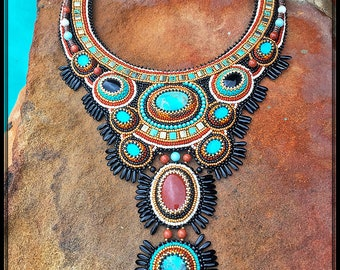 Bead Embroidered Statement Necklace with Natural Gemstones - Bead Embroidery Jewelry - Long Necklace with Fringe