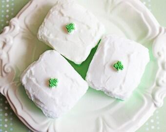 St Patricks Day Soap - Cake Soap, Shamrock Soap, St Patricks Day, Lucky, Frosted Slice, Food Soap, Dessert Soap, Candy Soap, Irish Soap