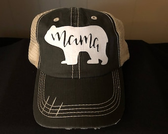 Distressed Mama Bear Trucker Hat