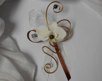 PIN back train chocolate gold and ivory Orchid