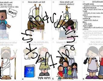 Ten Commandments Booklet, visuals for learning 10 commandments