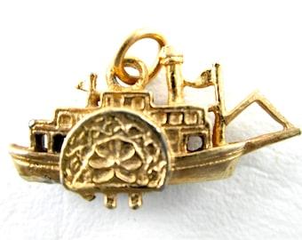 Vintage River Steamboat Charm or Pendant Souvenir Gold Tone Mississippi Boat