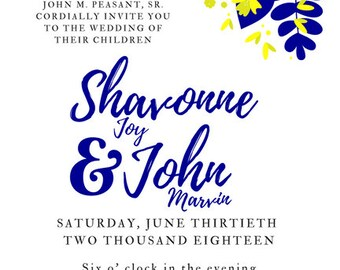 Wedding Invitations - Floral - Navy and Yellow - Wedding Invites - Summer Wedding - Flowers - Script Font