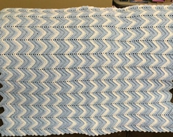 Blue & White Ripple Preemie Afghan