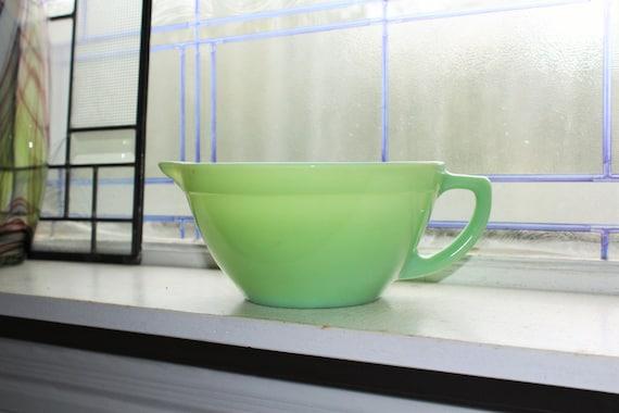 Fire King Jadite Green Batter Bowl Oven Ware Glass Vintage 1940s