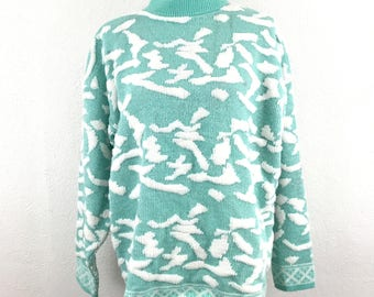Vintage M/L Sparkle Sweater Fairy Kei Kawaii Shimmer Blue Women Acrylic Kate Collins