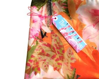 Orange and Pink Floral Print Chiffon Scarf
