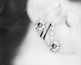 Swarovski Crystal Ear Cuff, No Piercing Needed, Swarovski Pearls, Bridal Jewelry, Crystal Earring, Clear Crystal, Dione III v4