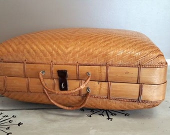 Woven Bamboo Suitcase Wicker Suitcase Wicker Storage Storage Case Beach Cottage Travel Bag Bamboo Luggage Basket Bamboo Basket
