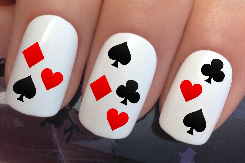 nail art set 689 x15 las vegas casino playing cards water