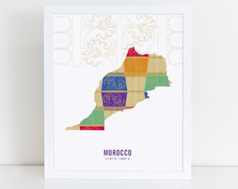 Morocco Map Travel Poster