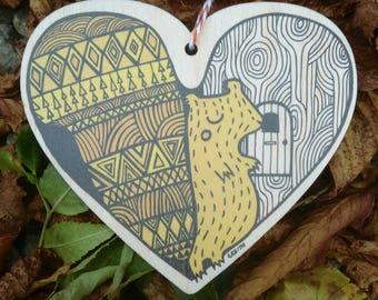 Red Squirrel wooden heart