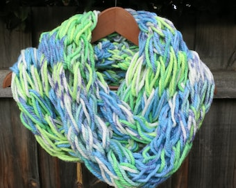 Arm knit infinity scarf in Blue Green