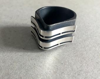 Geometric Silver Ring, Minimalist Silver Ring, Bauhaus Ring, Sterling Silver Ring, Modern Art Design, Bauhaus