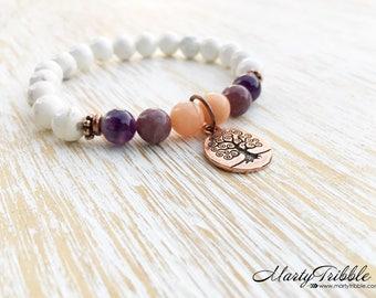 Tree of Life Bracelet, Magnesite Amethyst Lepidolite Aventurine Bracelet, Gemstone Bracelet, Tree Bracelet, Boho Bracelet, Healing Bracelet