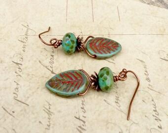 Green Earrings, Turquoise Earrings, Turquoise Leaf Earrings, Boho Earrings, Czech Glass Beads, Copper Earrings, Unique Earrings, Gifts
