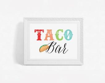 Printable Taco Bar Sign, Printable Taco Party Sign, DIY Fiesta Bridal Shower Sign, Fiesta Baby Shower, Fiesta Birthday Party Taco Bar Sign