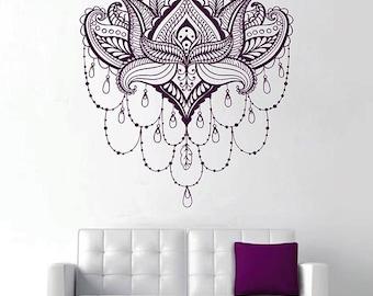 lotus Wall Decal Sticker Buddhist symbol lotus lower Sticker bedroom yoga Spiritual Decal Yoga Decal Flower Wall Art kik2976