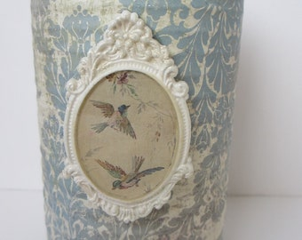 Altered Metal Canister Romantic Shabby Vintage Style