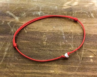 Tibetan Silver Heart Red String Bracelet