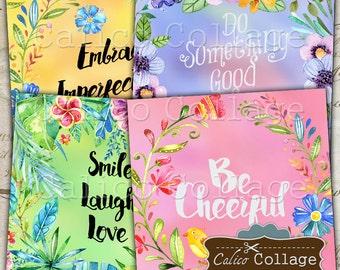 Inspirational Digital Images, 4x4 Collage Sheet, Digital Coasters, Printable Tags, Digital Collage, Printable Sheet, Decoupage Paper
