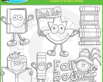 Fall Book Fair Line Art