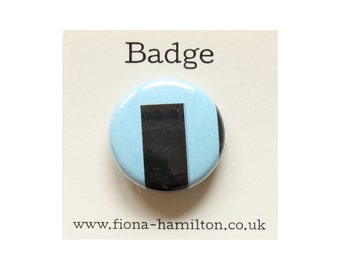 "1 inch Pin Button Badge by Fiona Hamilton - One Off, Paint, Pattern, Splash, Splodge, Foil, 1"", Black, Blue"