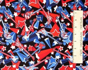 Patriotic Rock Guitars Red Blue Timeless Treasures Novelty Cotton Fabric YARD