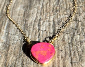 Dainty Gold Necklace, Multi Gemstone Necklace, Pink Necklace, Minimalist Necklace Gold, Jasper Gemstone