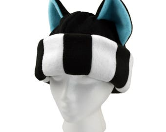 Black and White Striped kitty cat ears hat - Blue