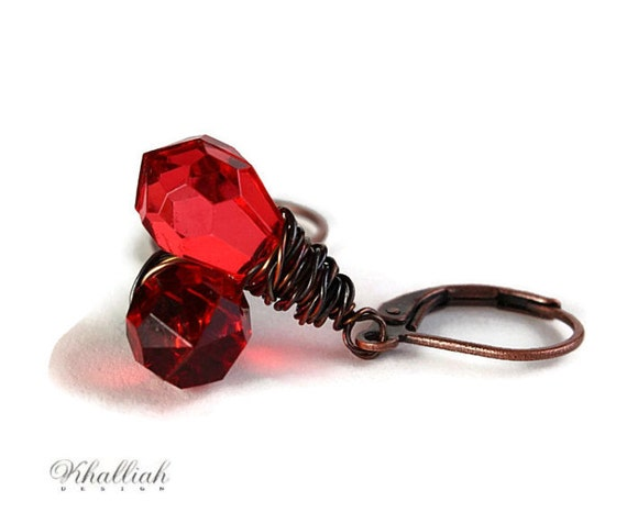 Red tear drop and antique copper leverback earrings (214)