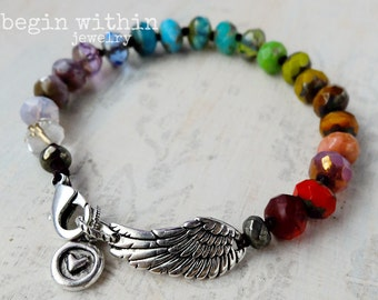 Rainbow Angel Wing Bracelet | Color Therapy Angel Bracelet | Chakra Jewelry