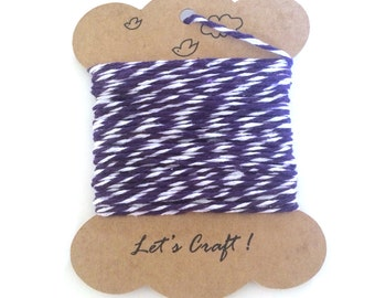 bakers twine - 10 yards cotton twine - gift wrapping twine - crafting twine - striped bakers twine - purple and white cotton baker's twine