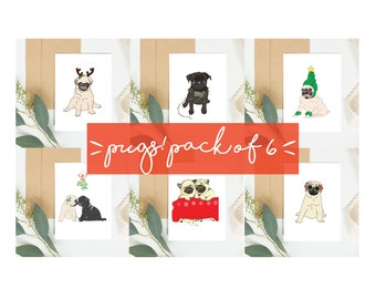 Pug Christmas Cards. Set of 6. Christmas Card pack of Christmas themed pugs. Pug gift ideas.