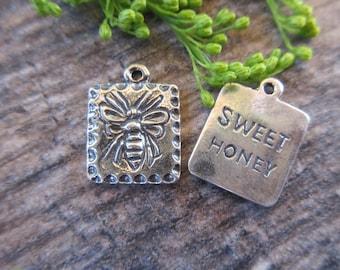 "1pc Sterling Silver 925 Honey Bee ""Sweet Honey"" charm 13mm x 17mm oxidized finish artisan style boho chic bracelet charm necklace charm"