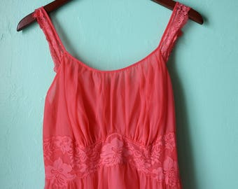 50s/60s Watermelon Floral Lace Nighty