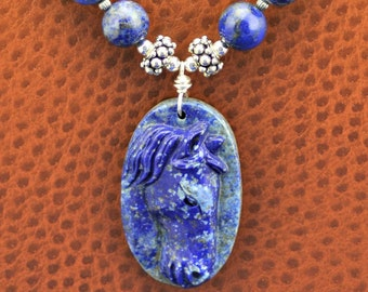 Lapis Lazuli Carved Horse .925 Silver Necklace