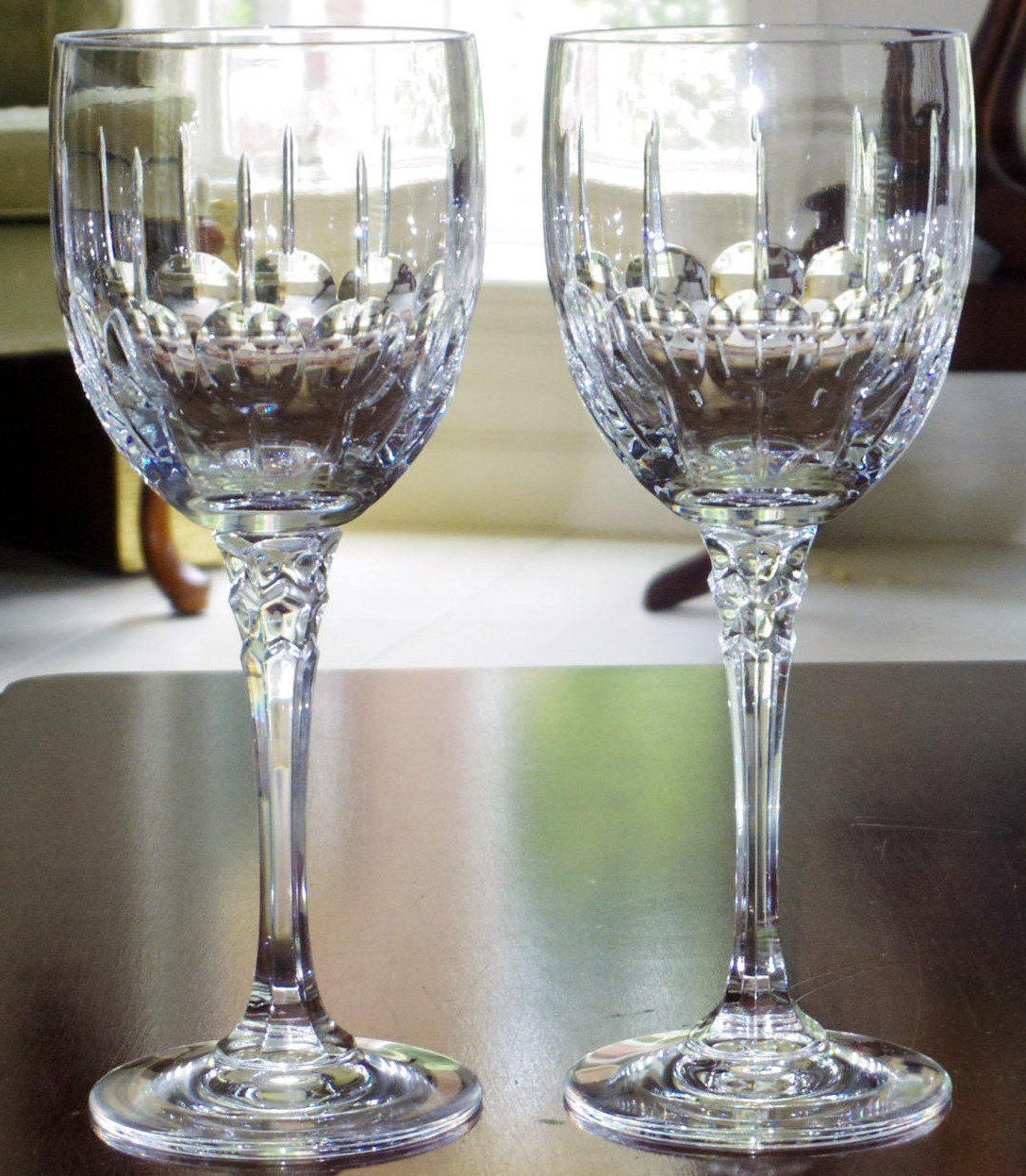 2 towle 8 58tiara goblets clear fine crystal cut zoom floridaeventfo Image collections