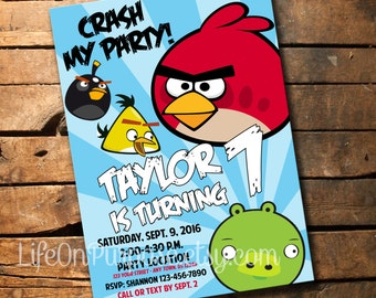 Angry Birds Birthday Party Invitation
