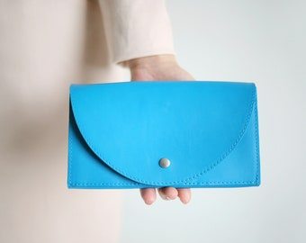 Clutch Wallet Turquoise Blue, Leather Clutch, Secretary Wallet, Big Leather Wallet