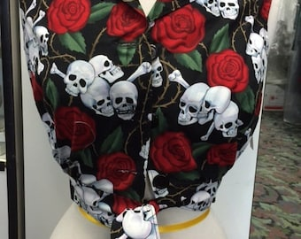 XSMALL: 40s Inspired Blouse--Skull and Roses