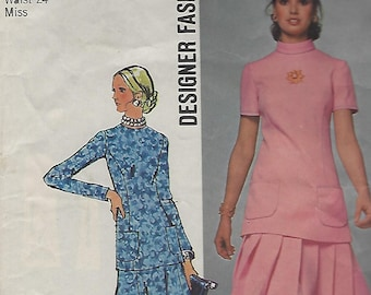 Vintage 1971 Simplicity 2 Piece Dress Pattern 9668 Miss Size 10